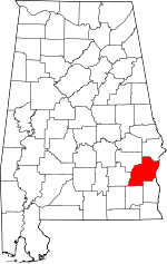 Map of Alabama showing Barbour County