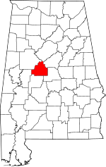 Map of Alabama showing Bibb County