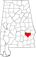 Map of Alabama showing Bullock County
