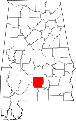 Map of Alabama showing Butler County