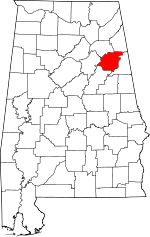 Map of Alabama showing Calhoun County