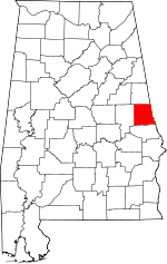 Map of Alabama showing Chambers County