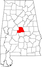 Map of Alabama showing Chilton County