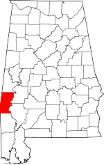 Map of Alabama showing Choctaw County