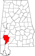 Map of Alabama showing Clarke County