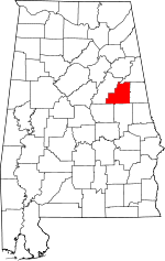Map of Alabama showing Clay County