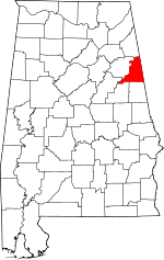 Map of Alabama showing Cleburne County