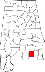 Map of Alabama showing Coffee County