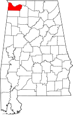 Map of Alabama showing Colbert County