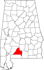 Map of Alabama showing Conecuh County