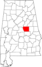 Map of Alabama showing Coosa County