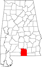 Map of Alabama showing Covington County