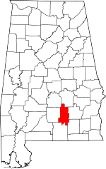 Map of Alabama showing Crenshaw County