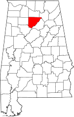 Map of Alabama showing Cullman County