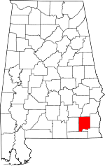 Map of Alabama showing Dale County