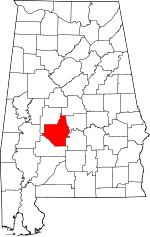 Map of Alabama showing Dallas County