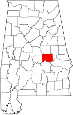 Map of Alabama showing Elmore County