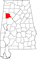 Map of Alabama showing Fayette County