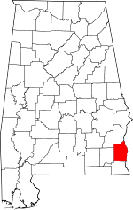 Map of Alabama showing Henry County