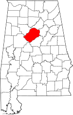 Map of Alabama showing Jefferson County