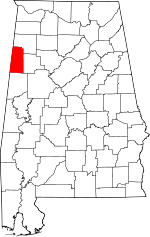Map of Alabama showing Lamar County