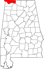 Map of Alabama showing Lauderdale County