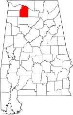 Map of Alabama showing Lawrence County