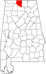 Map of Alabama showing Limestone County