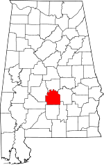 Map of Alabama showing Lowndes County