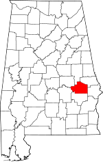 Map of Alabama showing Macon County