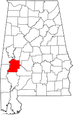 Map of Alabama showing Marengo County