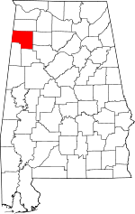 Map of Alabama showing Marion County