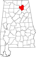 Map of Alabama showing Marshall County