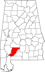 Map of Alabama showing Monroe County