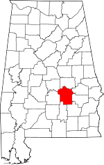 Map of Alabama showing Montgomery County