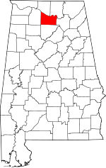 Map of Alabama showing Morgan County