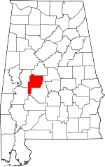 Map of Alabama showing Perry County