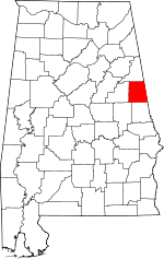 Map of Alabama showing Randolph County