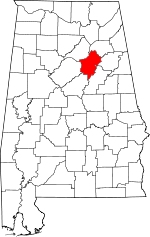 Map of Alabama showing St. Clair County
