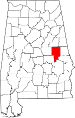 Map of Alabama showing Tallapoosa County