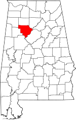 Map of Alabama showing Walker County