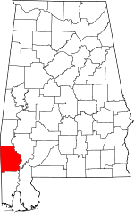 Map of Alabama showing Washington County