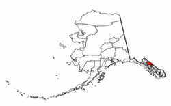 Map of Alaska showing Juneau Borough