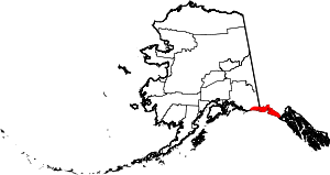 Map of Alaska showing Yakutat Borough