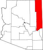 Map of Arizona showing Apache County