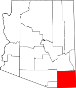 Map of Arizona showing Cochise County