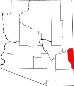Map of Arizona showing Greenlee County