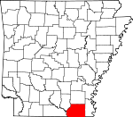 Map of Arkansas showing Ashley County