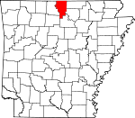 Map of Arkansas showing Baxter County