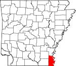 Map of Arkansas showing Chicot County